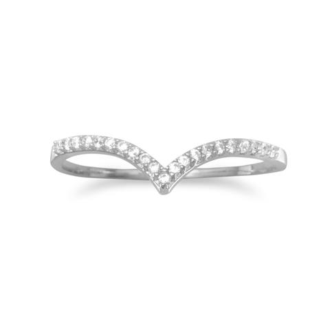 V shape sterling silver ring set with CZ