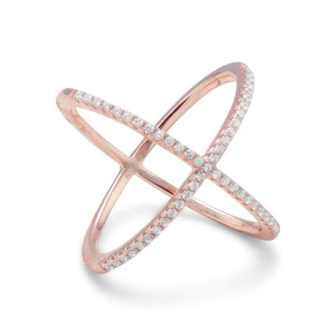 Sterling rose gold plate X ring #83598