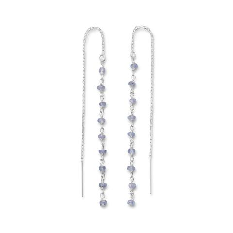 Sterling silver threader earrings with tanzanite beads