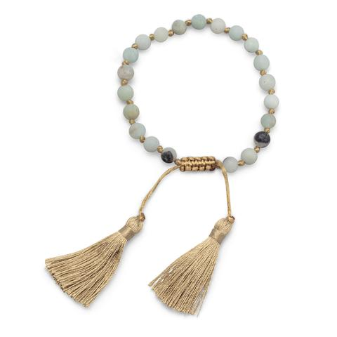 Adjustable fashion bracelet with matte amazonite beads and camel tassels