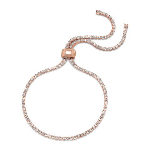 Rose-tone fashion bolo bracelet with 2mm wide crystals