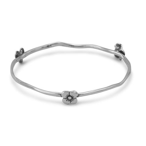 Sterling silver oxydized bangle bracelet with flowers