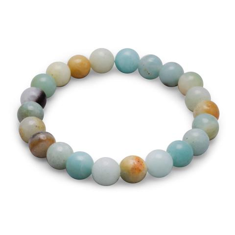 Stretch bracelet with round amazonite beads