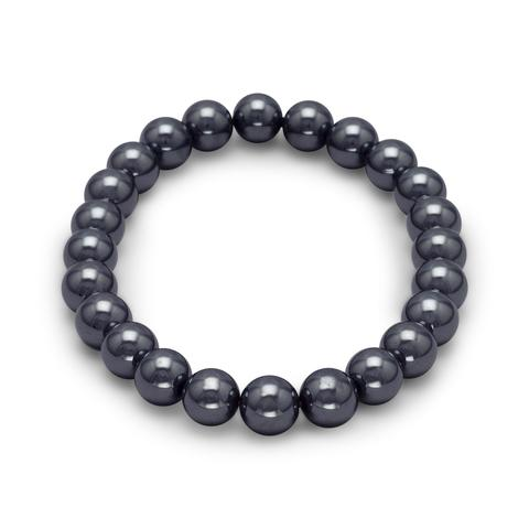 Stretch bracelet with round hematite beads