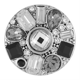 This snap from Ginger Snaps© features a rhodium plated base with a medley of white and black gems