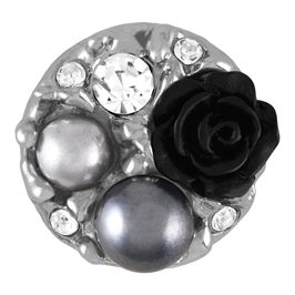 Snap by Ginger Snaps© featuring pearls, gems and a black rose..
