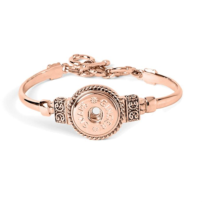 Rose gold bracelet with rope and scroll design