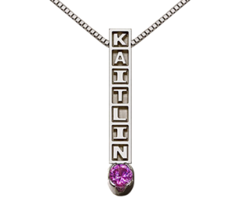 14k gold name necklace vertical available with and without bithstone