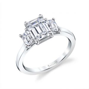 White gold three stone diamond engagement ring from the Sylvie Collection featuring three emerald cut diamonds