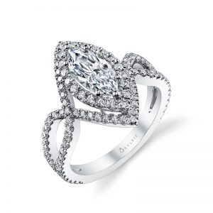 A white gold diamond engagement ring from the Sylvie Collection featuring a double marquise shaped double halo around a marquise cut diamond