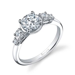 A white gold five-stone diamond engagement ring from the Sylvie Collection