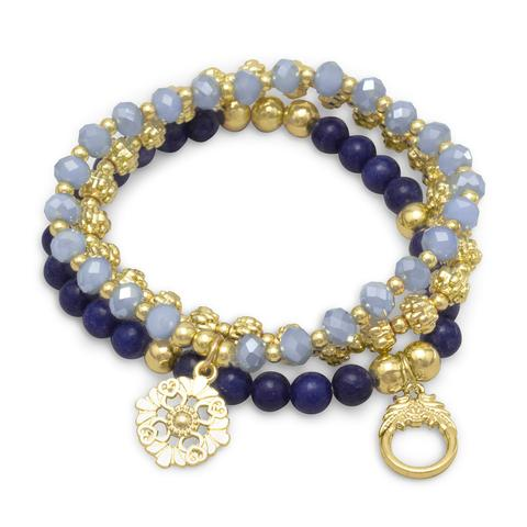 Blue agate and gold tone set of three stretch bracelets