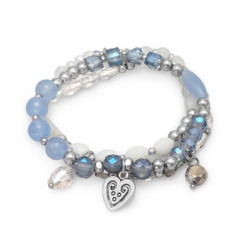 set of three fashion stretch bracelets with blue agate and crystal beads