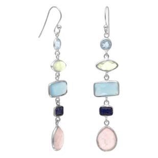 sterling silver drop earrings with five different semi-precious stones