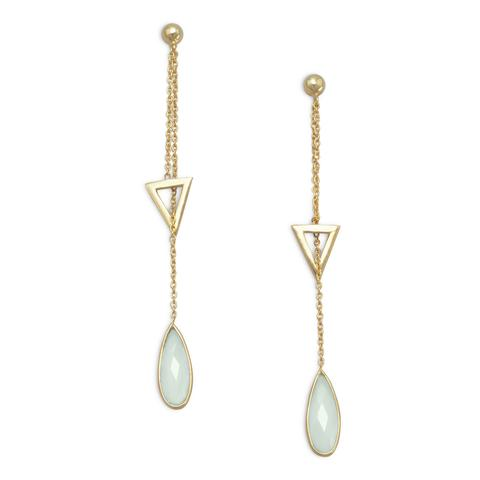 gold plated sterling silver drop earrings with triangle and chalcedony