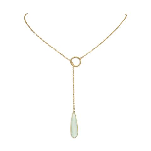 Gold plated sterling silver lariat necklace with chalcedony pendant