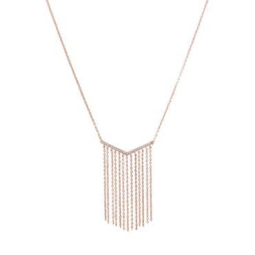 Rose Gold V Shaped Tassel Necklace Andres Fine Jewelers