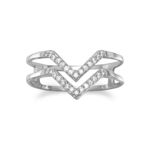 Double row V ring in sterling silver set with cubic zirconia